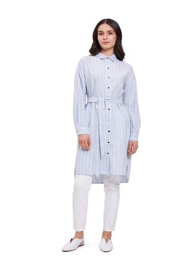 Mizalle Çizgili Keten Görünümlü Elbise Mavi